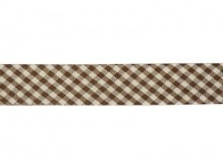 1 m of woven bias binding (20 mm) with a Gingham pattern - dark brown (colour no. 060)