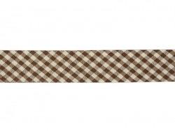 1m biais 20mm tissé vichy - marron foncé 060  - 1