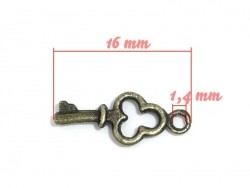1 small key charm - bronze-coloured
