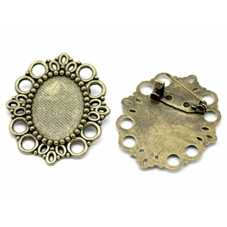 Support broche pour cabochon BRONZE  - 1