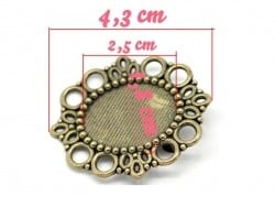 Support broche pour cabochon BRONZE