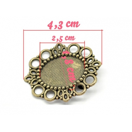 Support broche pour cabochon BRONZE  - 2