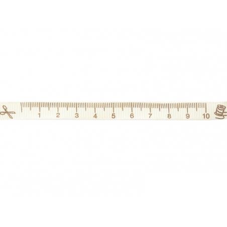 """Bobine 2m de ruban gros grain imprimé """"mètre"""" 10 mm - écru 051"""