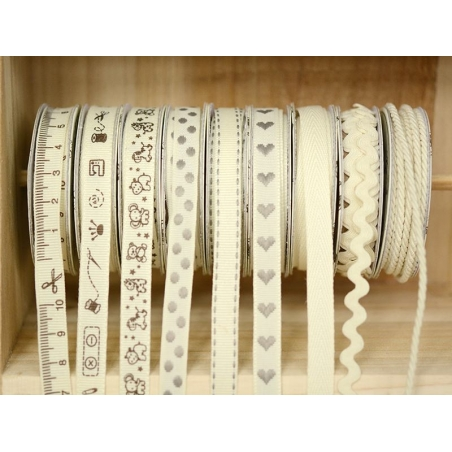 Grosgrain ribbon spool (2 m) - sewing accessory print (10 mm) - off-white (colour no. 051)
