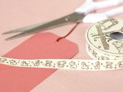 Woven Grosgrain ribbon spool (2 m) - animal print (10 mm) - off-white (colour no. 051)