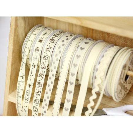 Woven Grosgrain ribbon spool (2 m) - dashes (10 mm) - off-white (colour no. 051)