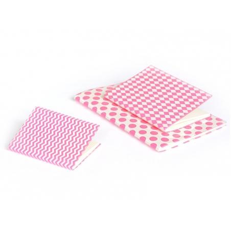 Grand carnet avec couverture à pois - Rose fluo