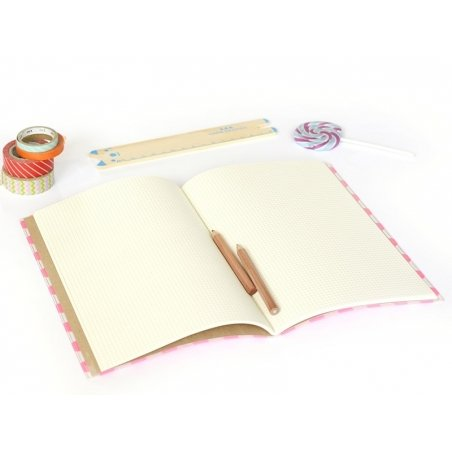Big notebook with a dotted cover - neon pink