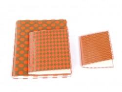 Grand carnet avec couverture à pois - Orange fluo