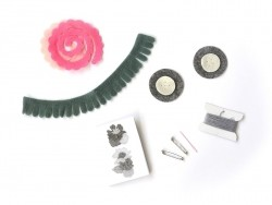 Kit de création - Bouquets de fleurs en feutrine gris et rose