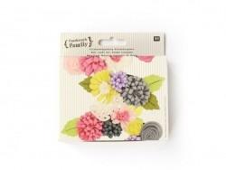 Kit de création - Bouquets de fleurs en feutrine vert clair et rose