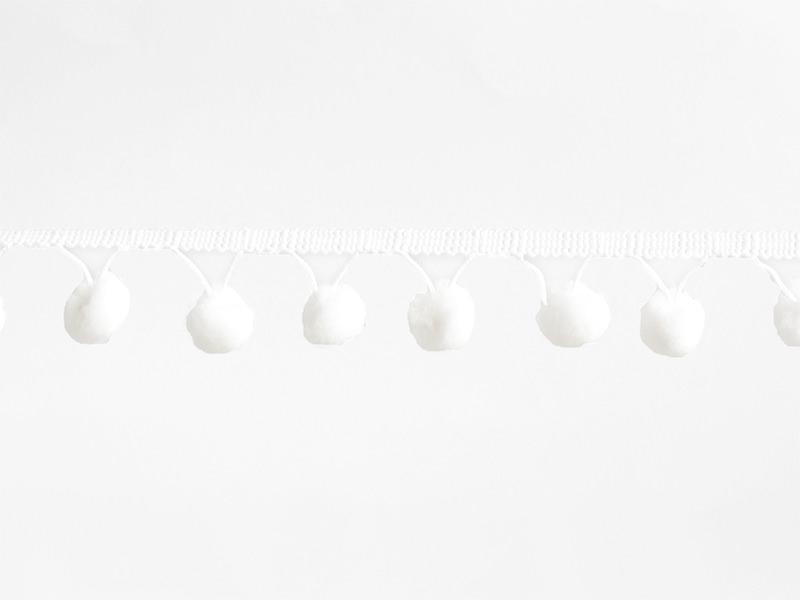 1m Galon de pompons - blanc 001