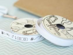 "Bobine 2m de ruban gros grain imprimé ""couture"" 10 mm - blanc 001"