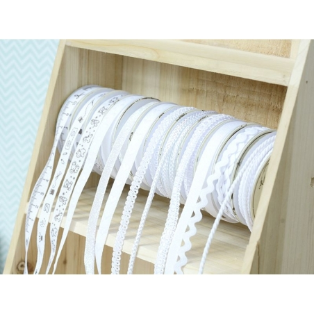 Grosgrain ribbon spool (2 m) - sewing accessory pattern (10 mm) - white (colour no. 001)