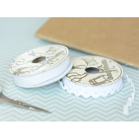 Decorative ribbon spool (2 m) - Glitter (10 mm) - white (colour no. 001)