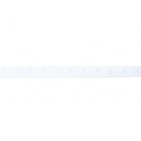 "Bobine 2m de ruban gros grain tissé ""coeurs"" 10 mm - blanc 001"