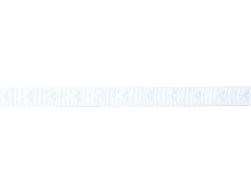 Woven Grosgrain ribbon spool (2 m) - hearts (10 mm) - white (colour no. 001)