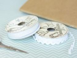 Grosgrain ribbon spool (2 m) - Rickrack (9 mm) - white (colour no. 001)