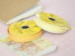 Woven Grosgrain ribbon spool (2 m) - polka dots (10 mm) - amber (colour no. 081)