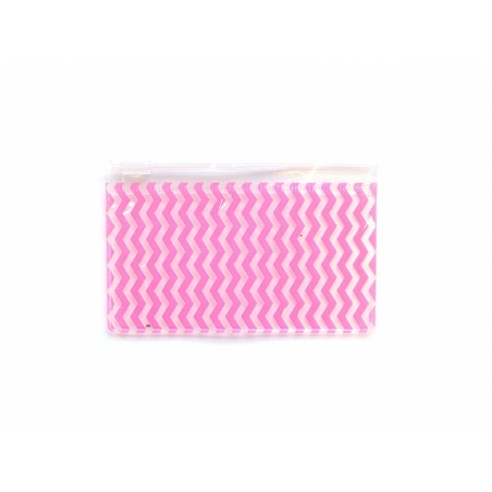 Small pencil case with a zigzag pattern - pink