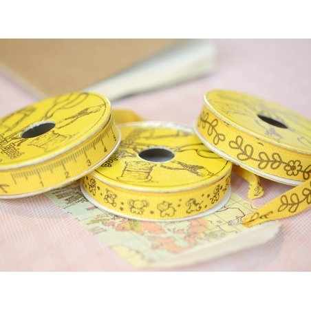 Woven Grosgrain ribbon spool (2 m) - flower print (10 mm) - amber (colour no. 081)