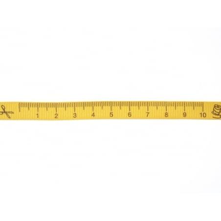 "Bobine 2m de ruban gros grain imprimé ""mètre"" 10 mm - ambre 081"