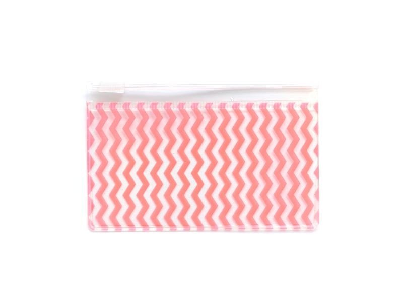Small pencil case with a zigzag pattern - orange
