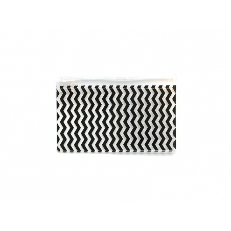 Small pencil case with a zigzag pattern - black