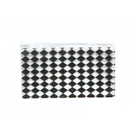 Pencil case with a diamond pattern - black
