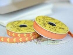 Woven Grosgrain ribbon spool (2 m) - hearts (10 mm) - orange (colour no. 083)