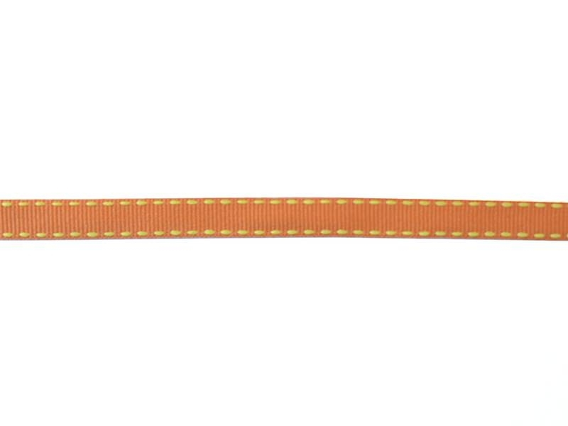 Woven Grosgrain ribbon spool (2 m) - dashes (10 mm) - orange (colour no. 083)