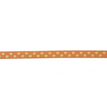 "Bobine 2m de ruban gros grain tissé ""pois"" 10 mm - orange 083"