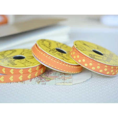 Woven Grosgrain ribbon spool (2 m) - polka dots (10 mm) - orange (colour no. 083)