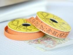 "Bobine 2m de ruban gros grain imprimé ""animaux"" 10 mm - orange 083"