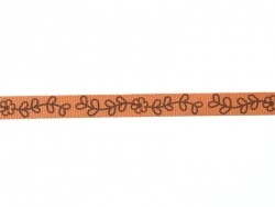 Woven Grosgrain ribbon spool (2 m) - flower print (10 mm) - orange (colour no. 083)