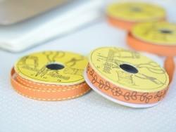 Woven Grosgrain ribbon spool (2 m) - flower print (10 mm) - orange (colour no. 083)