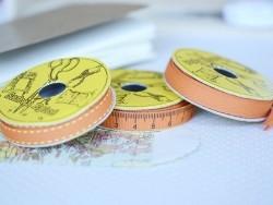 """Bobine 2m de ruban gros grain imprimé """"mètre 10 mm - orange 083"""