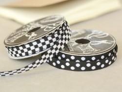 Woven Grosgrain ribbon spool (2 m) - chequerboard pattern (10 mm) - black (colour no. 014)