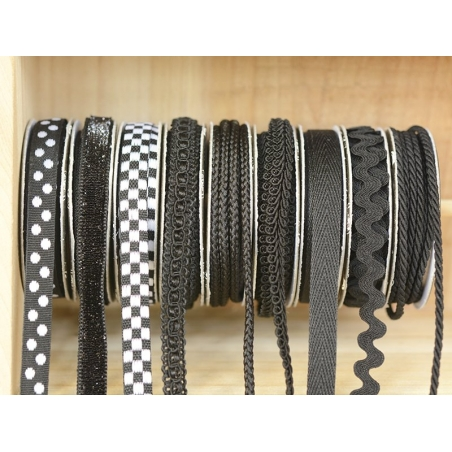 Decorative ribbon spool (2 m) - lace (10 mm) - black (colour no. 014)