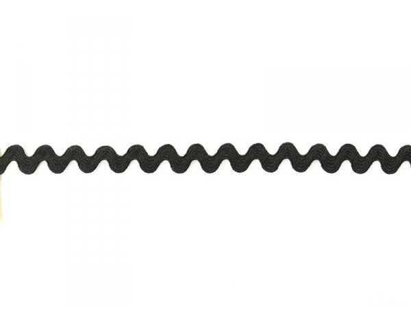"Bobine 2m de ruban gros grain ""serpentine"" 9 mm - noir 014"