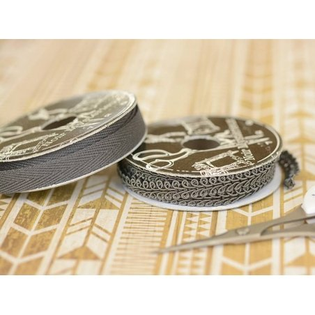 Decorative ribbon spool (2 m) - passament border (8 mm) - anthracite grey (colour no. 038)