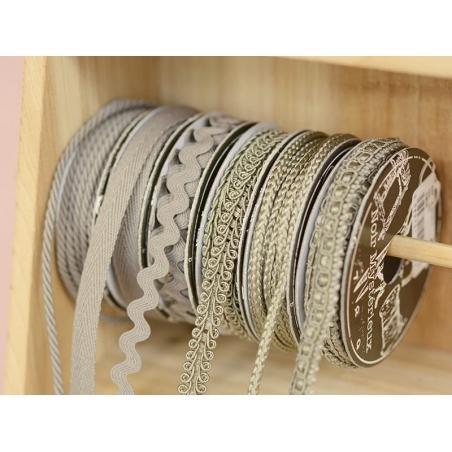 Decorative ribbon spool (2 m) - passament border (8 mm) - grey (colour no. 031)
