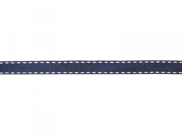"Bobine 2m de ruban gros grain tissé ""tirets"" 10 mm - marine 023"