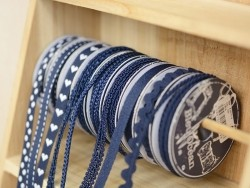 Decorative ribbon spool (2 m) - passament border (8 mm) - navy blue (colour no. 023)