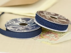 Woven Grosgrain ribbon spool (2 m) - Twill (10 mm) - navy blue (colour no. 023)