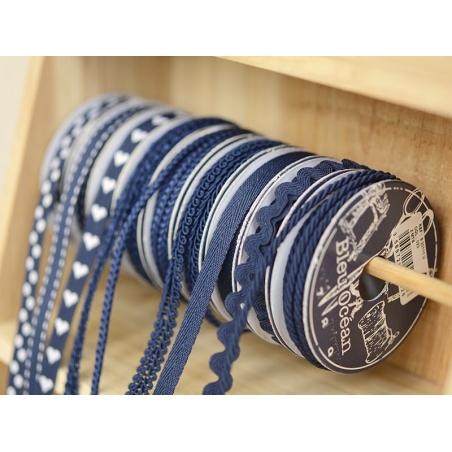 Grosgrain ribbon spool (2 m) - Rickrack (10 mm) - navy blue (colour no. 023)