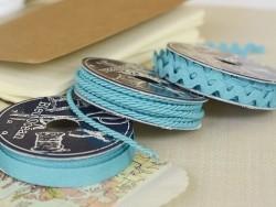 Grosgrain ribbon spool (2 m) - Rickrack (9 mm) - turquoise (colour no. 020)