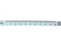 """Bobine 2m de ruban gros grain imprimé """"mètre"""" 10 mm - bleu ciel 002"""