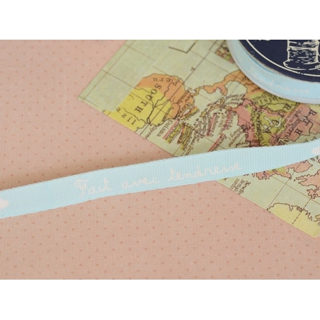 "Bobine 2m de ruban gros grain imprimé ""écriture"" 10 mm - bleu ciel 002"