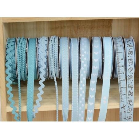 Woven Grosgrain ribbon spool (002 m) - word print (10 mm) - sky blue (colour no. 002)